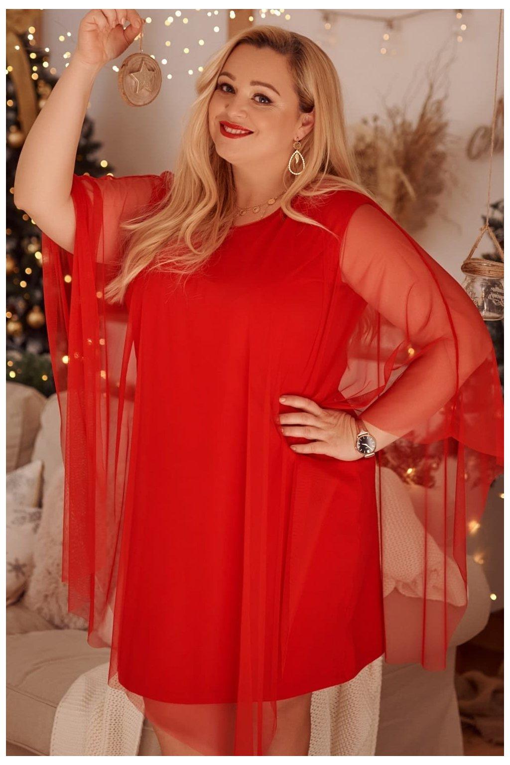 Šaty Plus Size Fasardi - červené