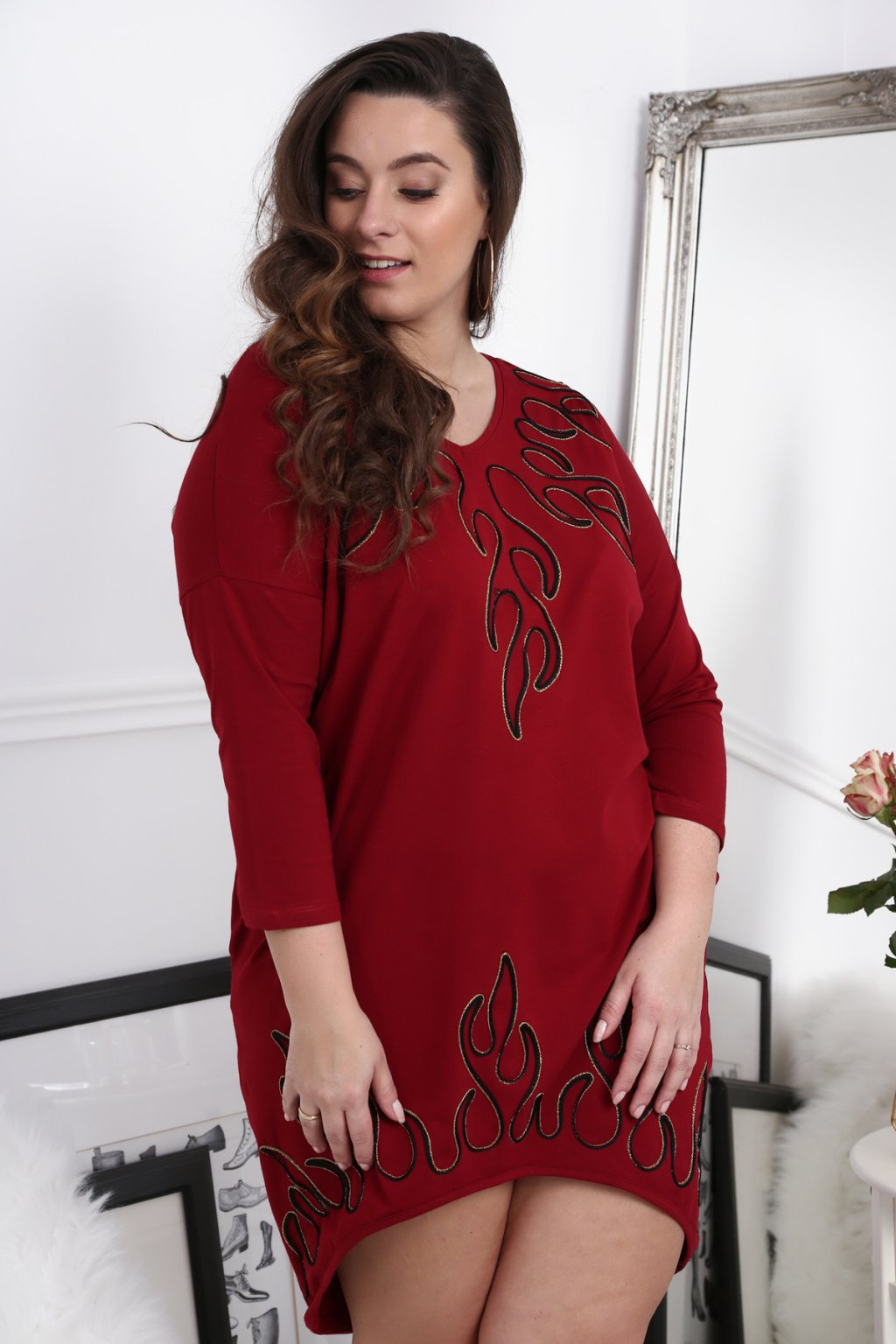 Šaty Plus Size Fasardi se vzorem - bordové