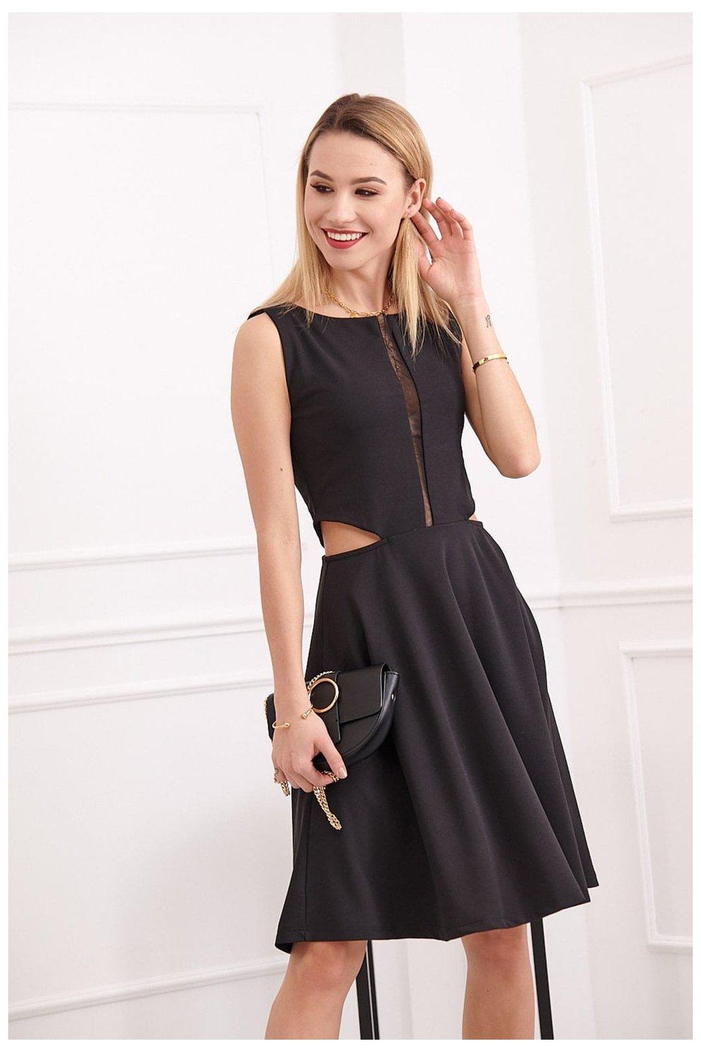 Černé šaty Fasardi s šifonem