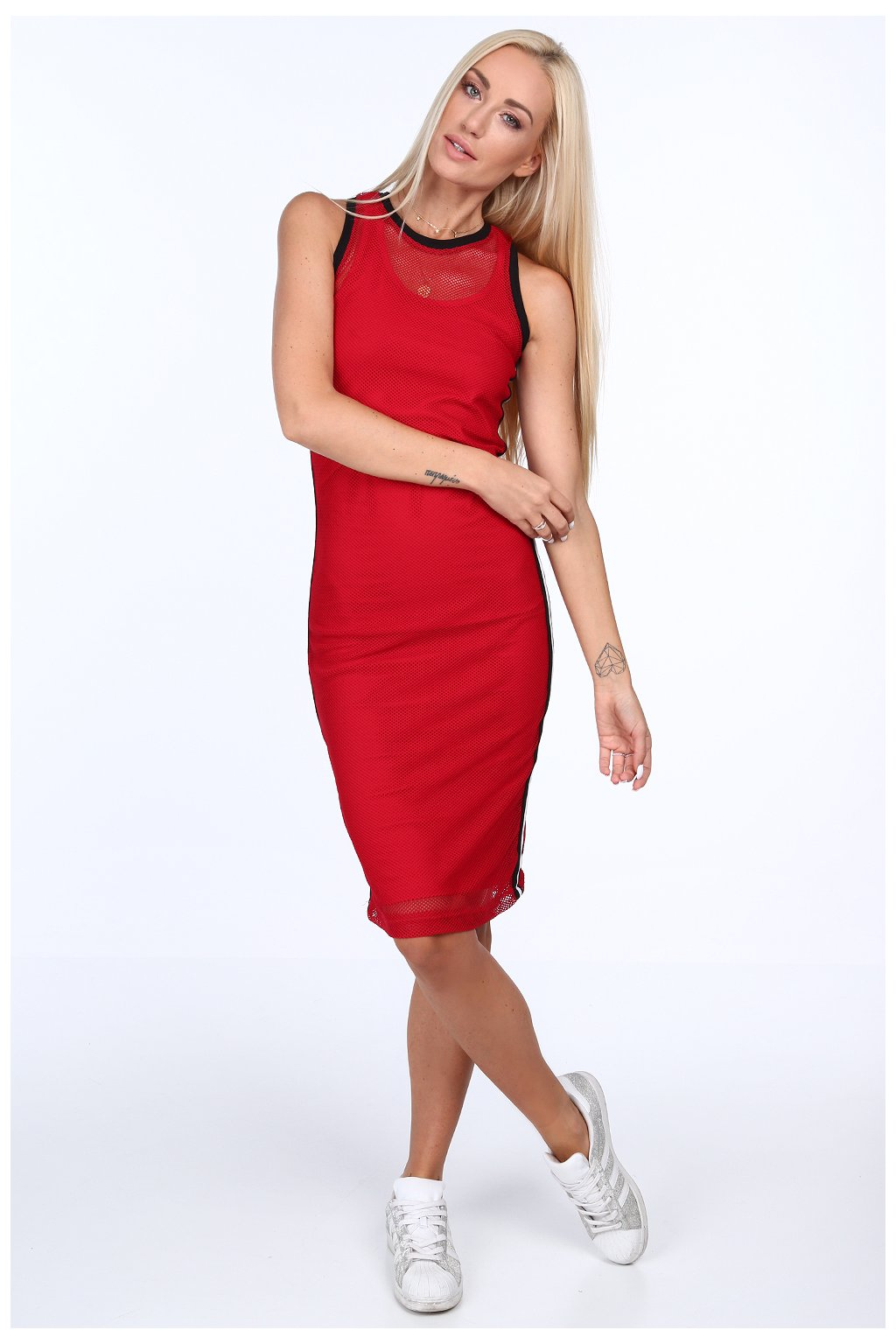 Červené šaty bez rukávů Fasardi
