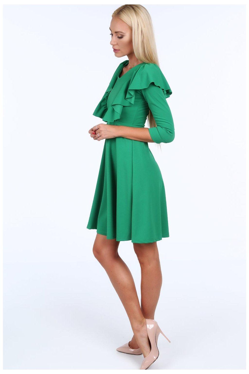 Zelené šaty Fasardi s volánky