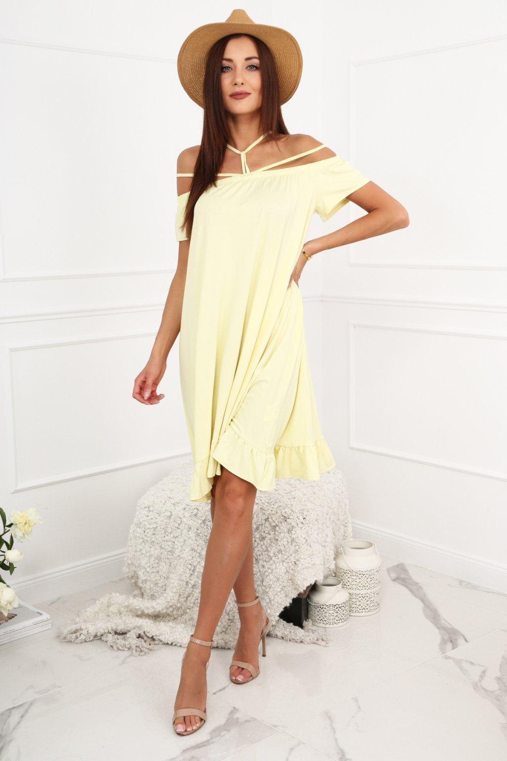 Žluté Fasardi šaty se španělským výstřihem