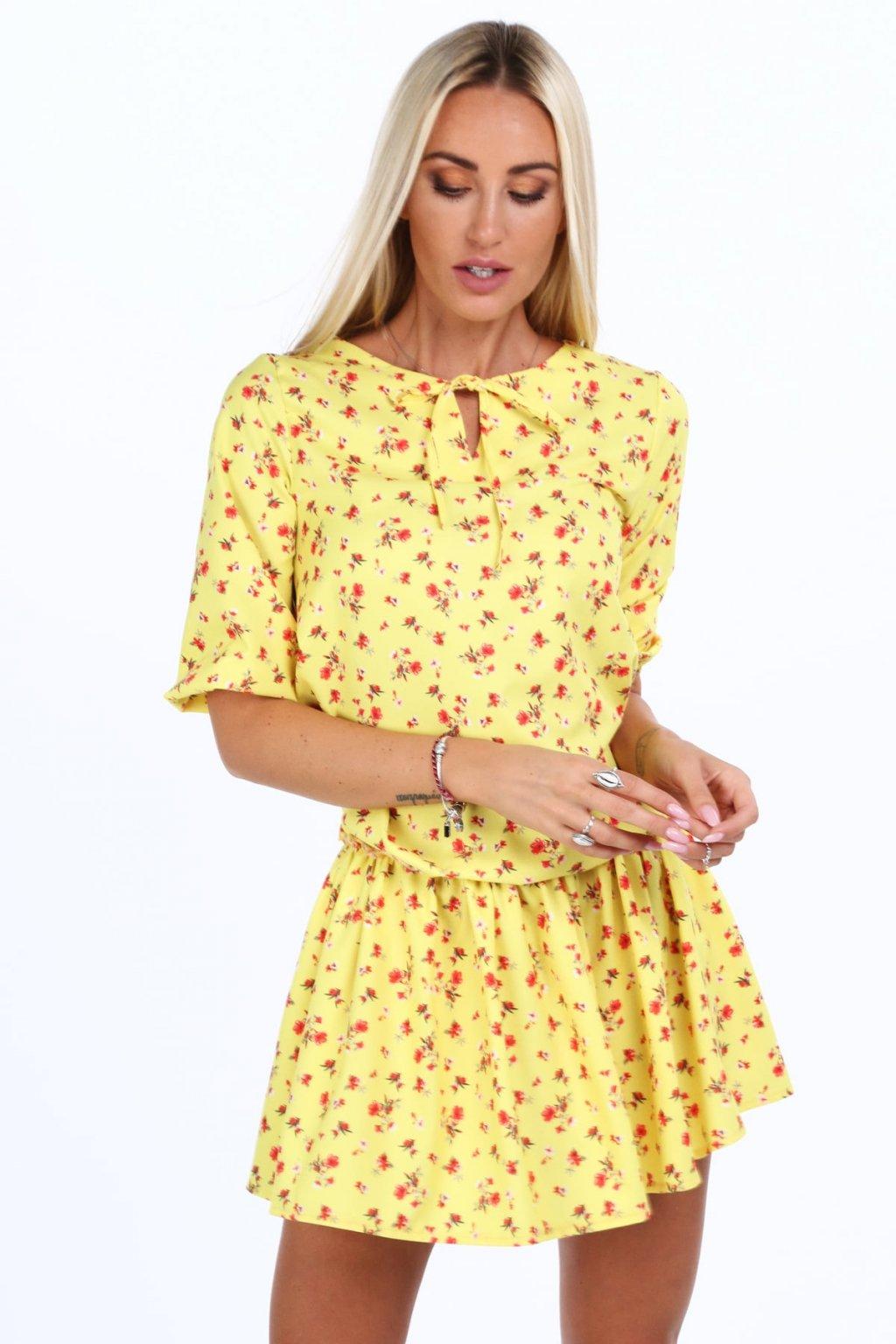Žluté mini s květinami Fasardi