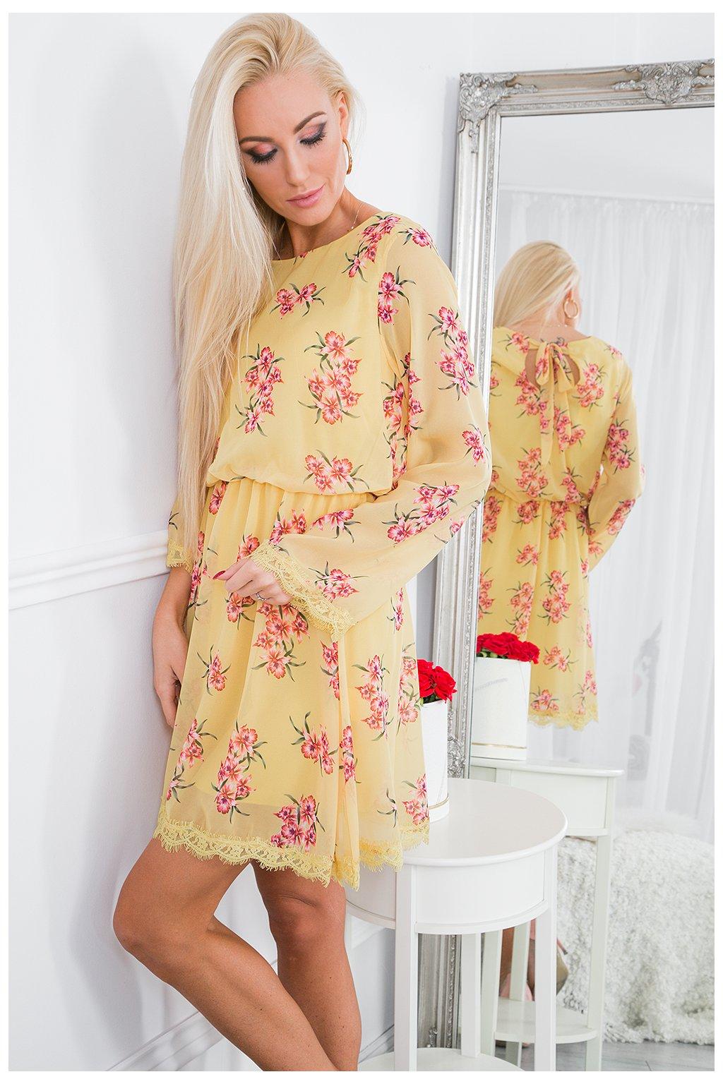 Žluté květované šaty Fasardi