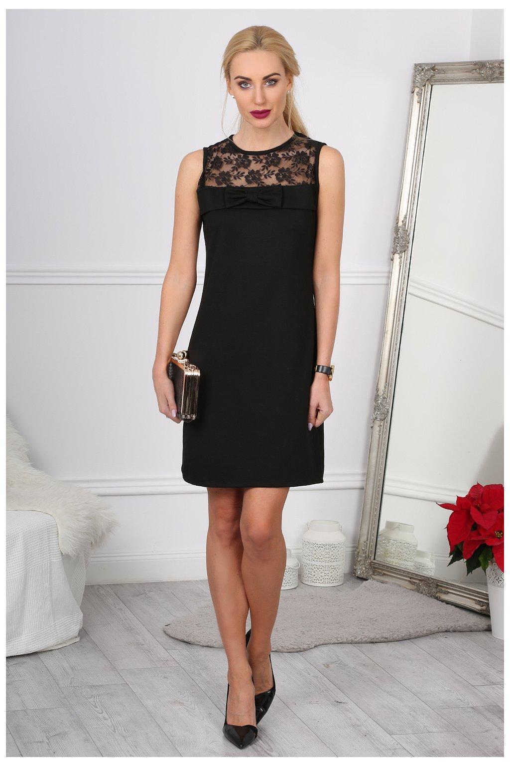 Elegantní černé šaty s krajkou Fasardi