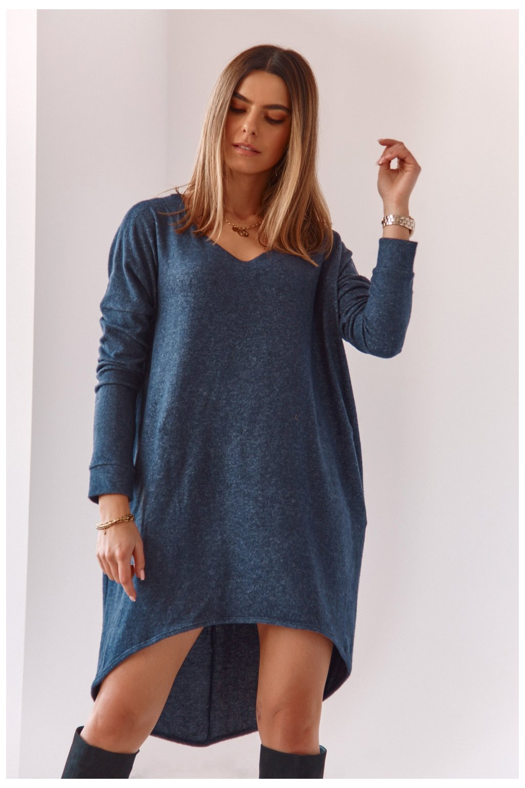 Volné tmavě modré šaty Fasardi
