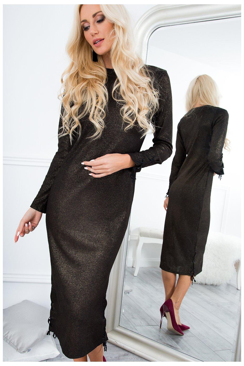 Midi šaty Fasardi černozlaté