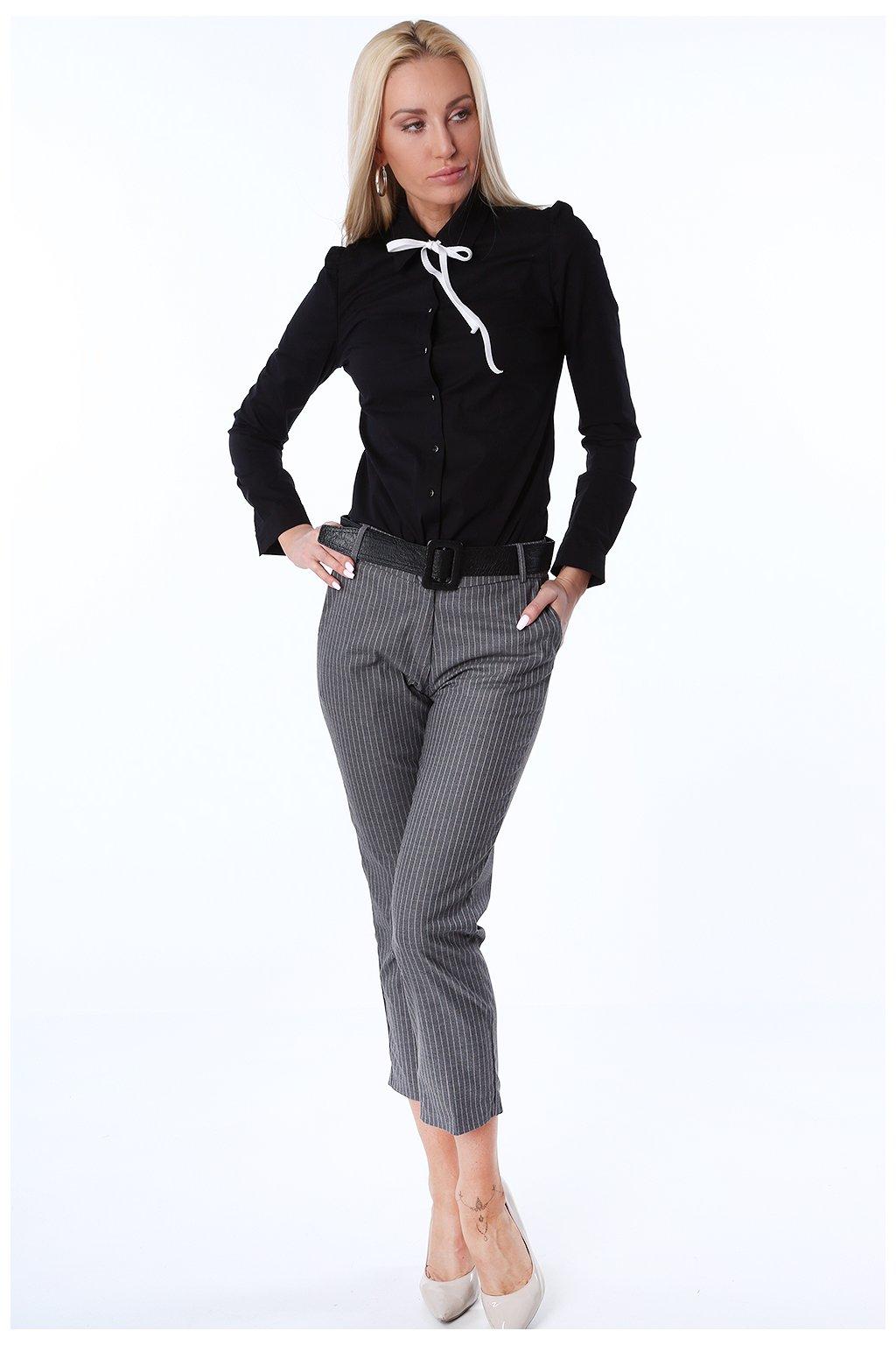 Šedé pruhované kalhoty Fasardi