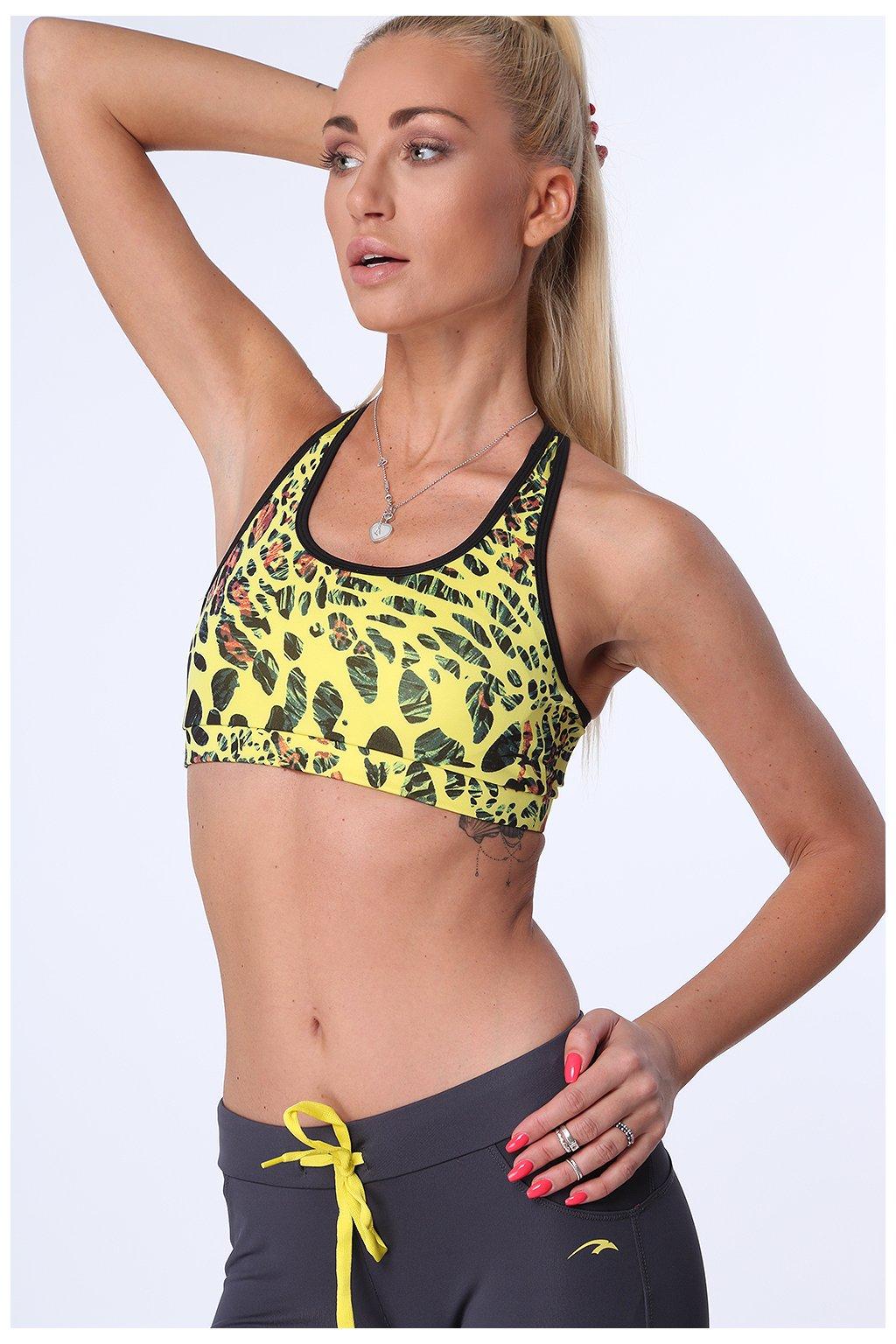 Sportovní top žlutý se vzory Fasardi