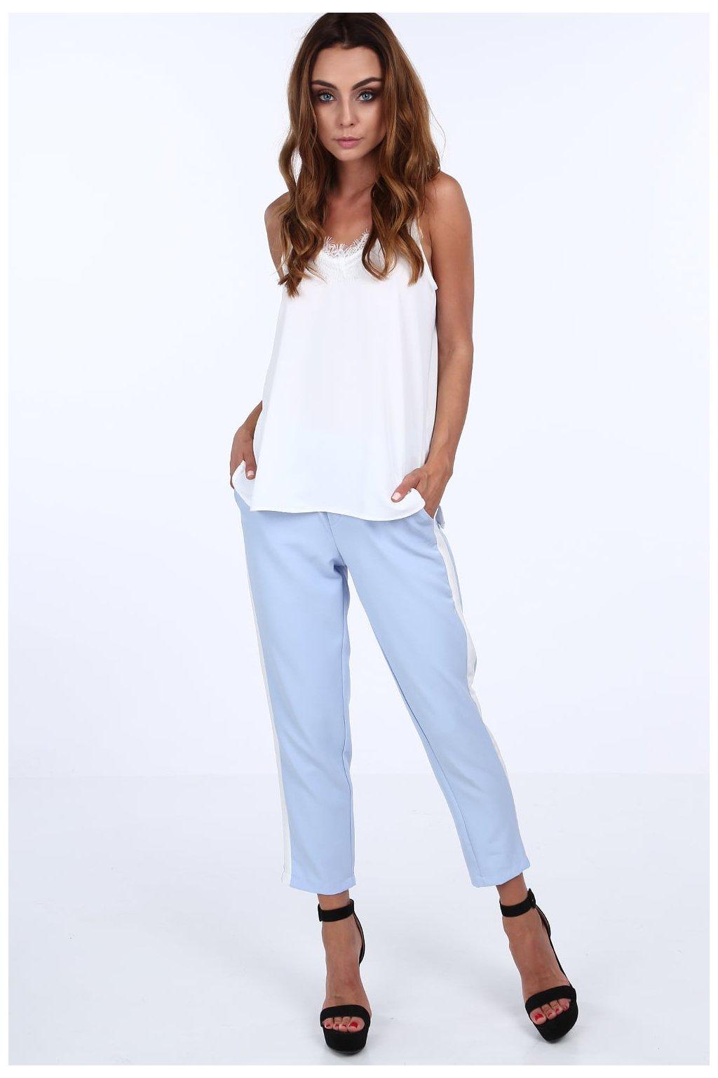 Modré kalhoty Fasardi s pruhem