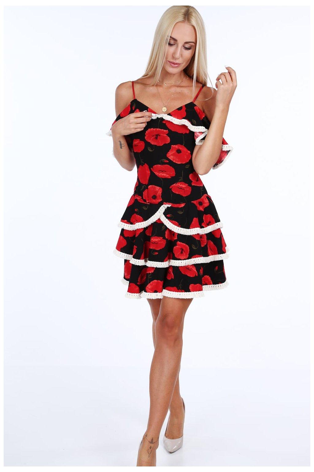 Volánkové šaty Fasardi černo/červené