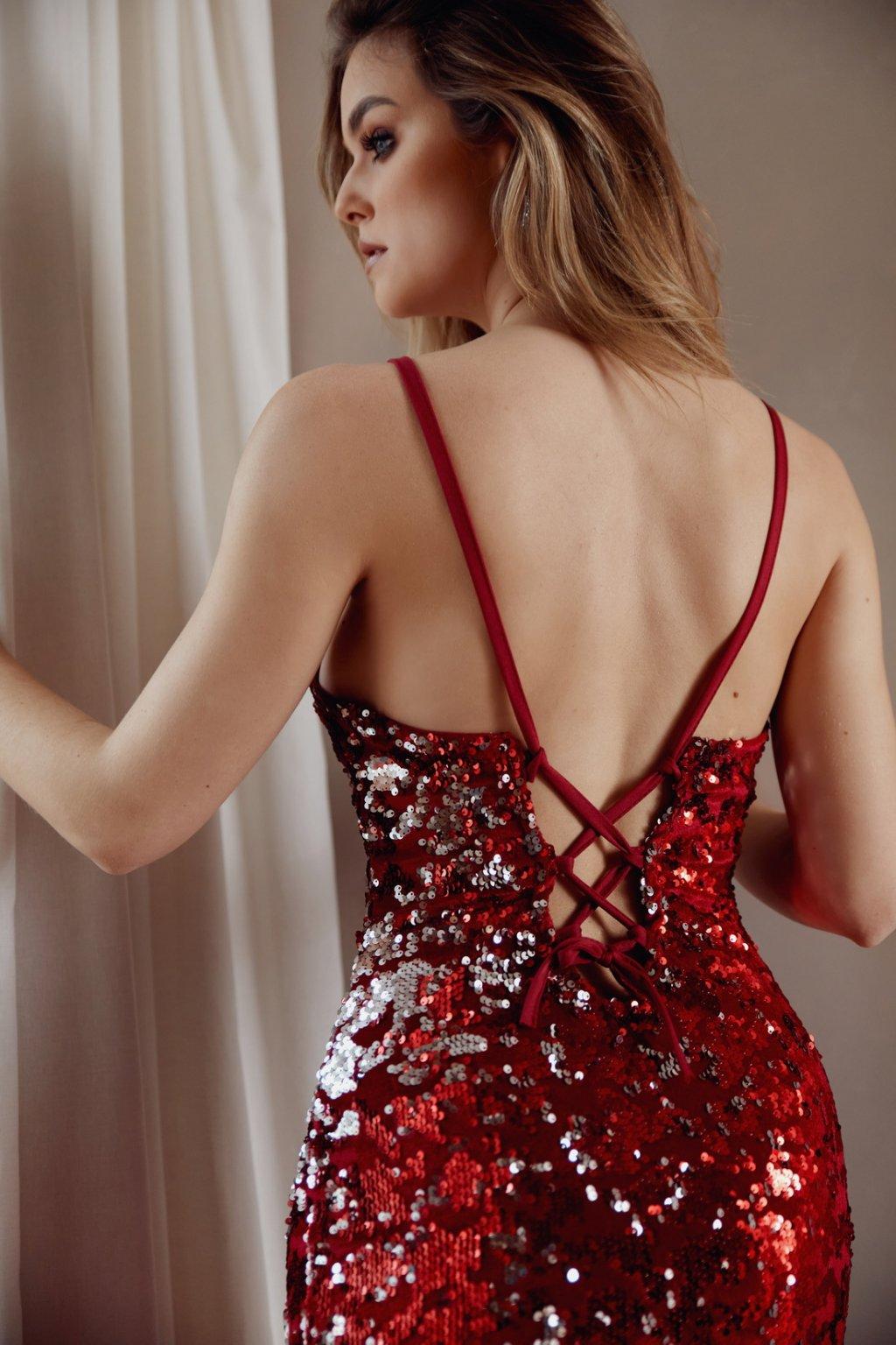 Červené třpytivé šaty Fasardi