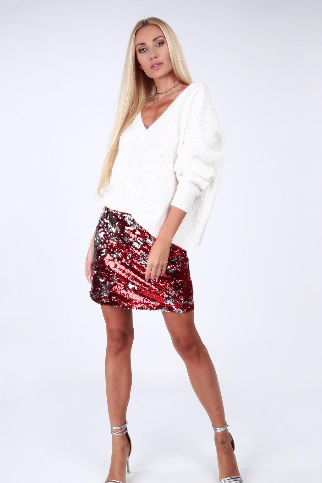 Červeno-stříbrná sukně s filtry Fasardi