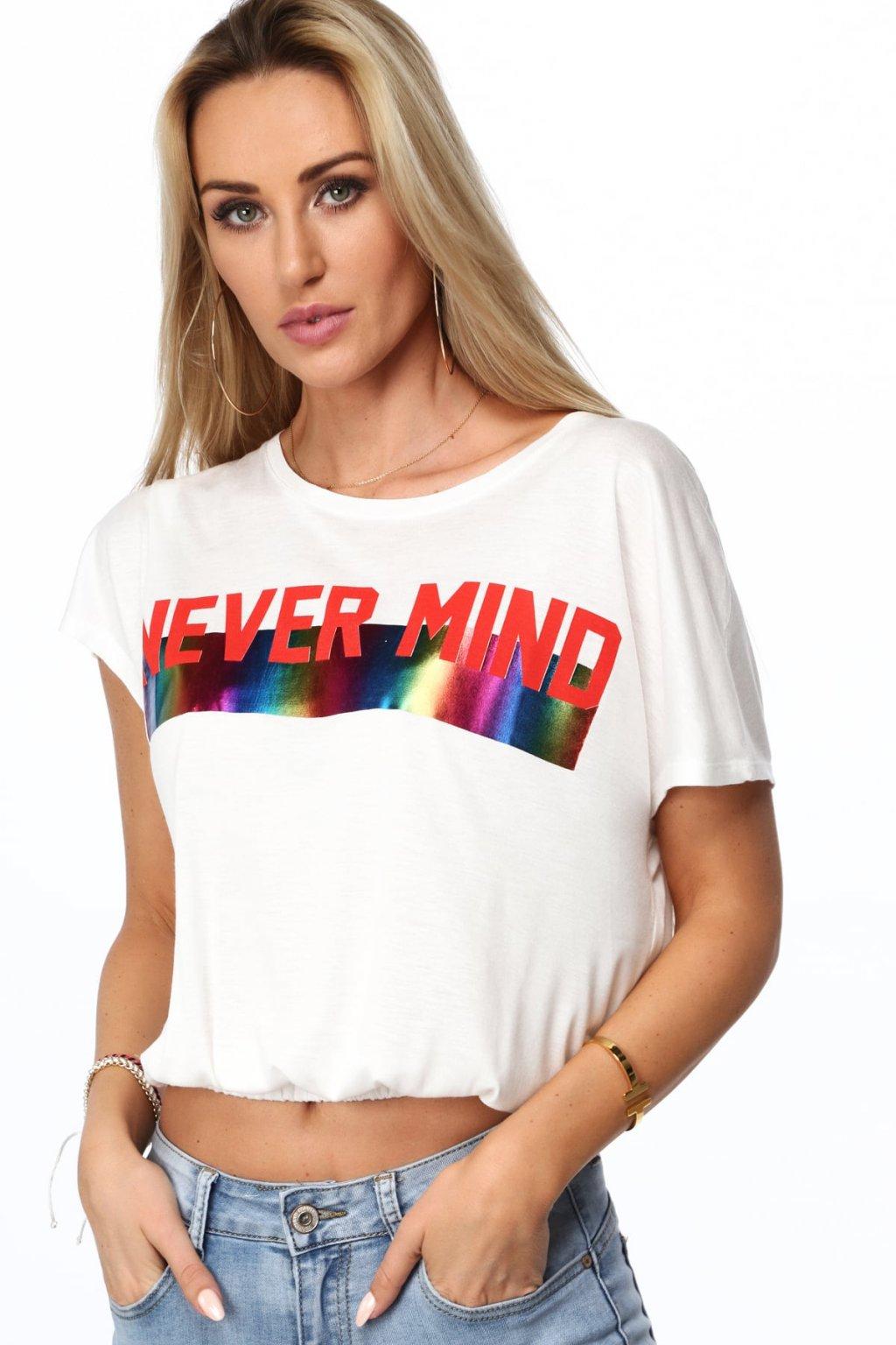 Krémová kratší tričko s potiskem Fasardi