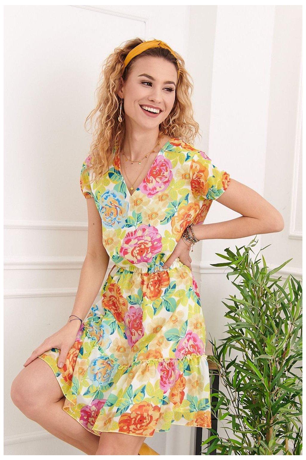 Barevné květované šaty s volánkem Fasardi