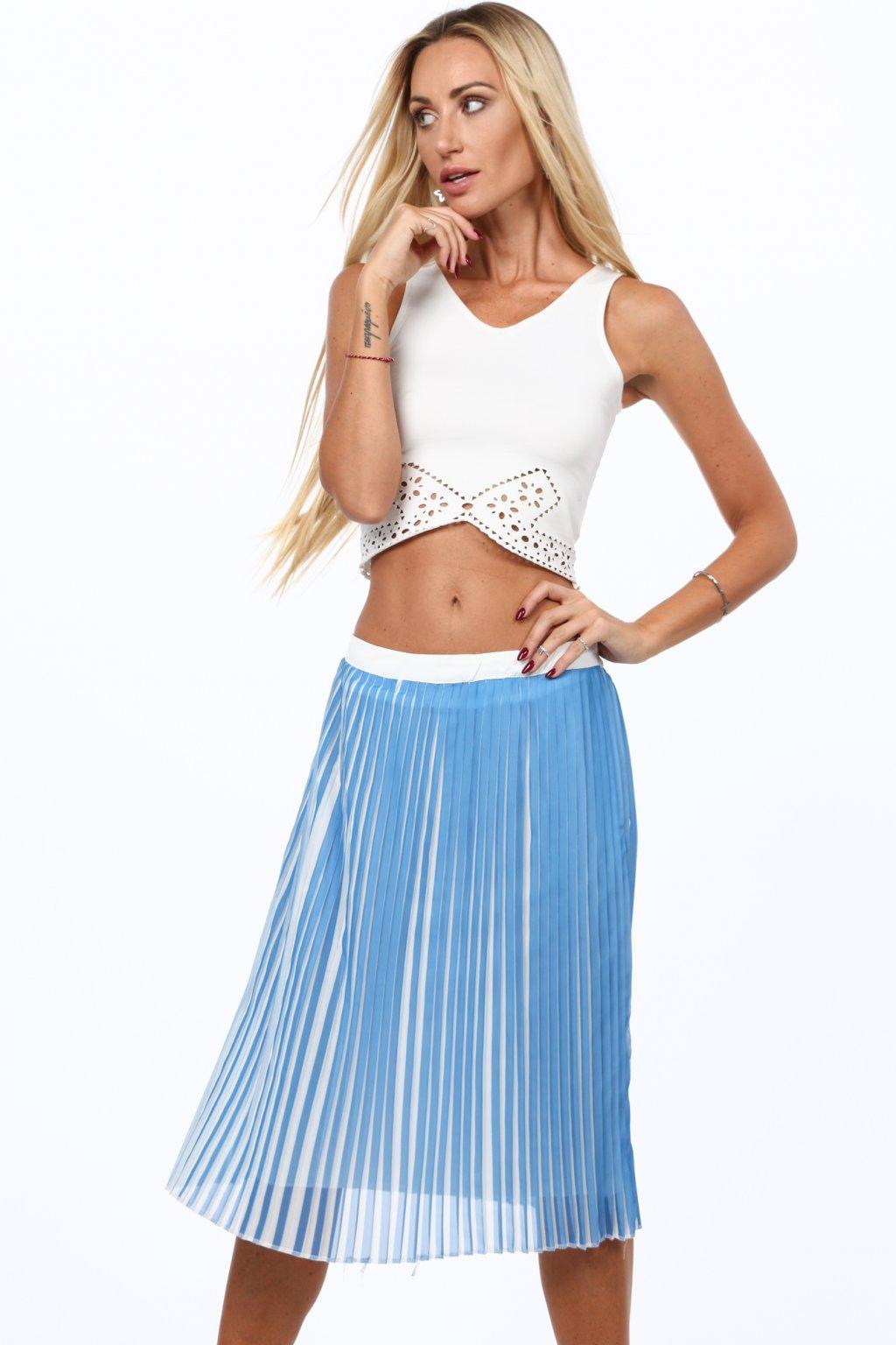 Plisovaná modrá sukně Fasardi