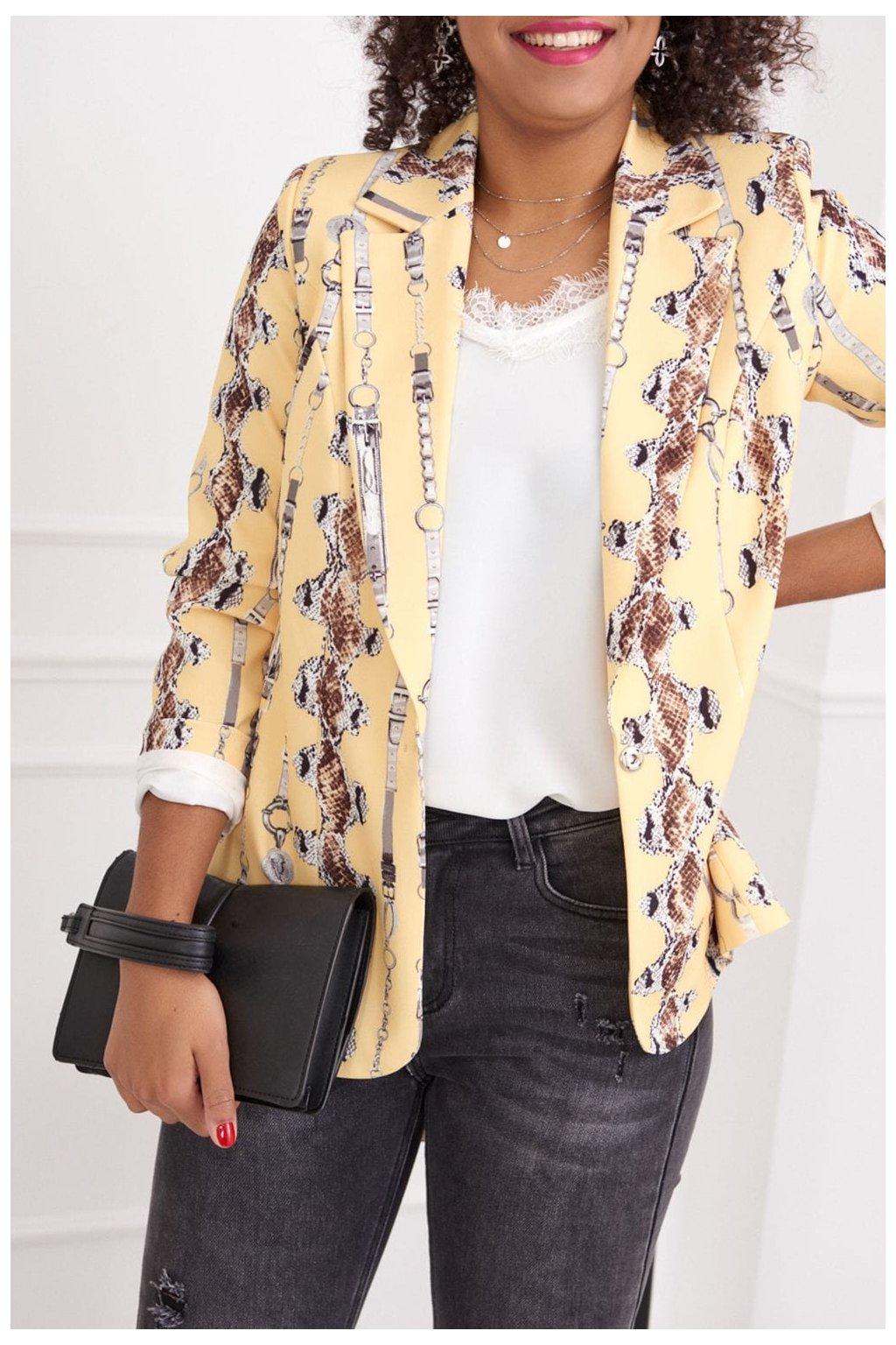 Dámské elegantní sako Fasardi se vzorem žlutá/hnědá