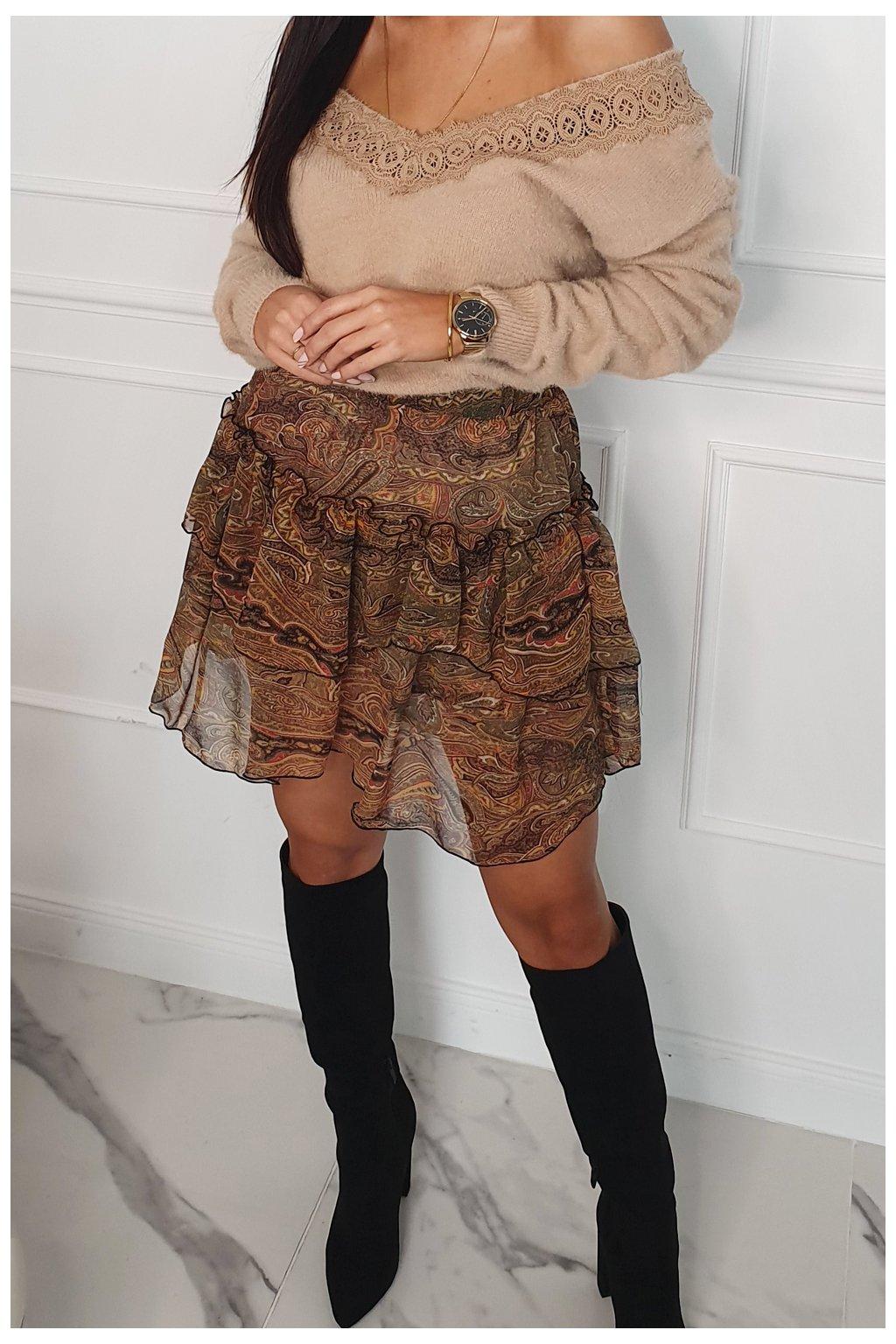 Mini sukně s volánky s barevným vzorem Fasardi