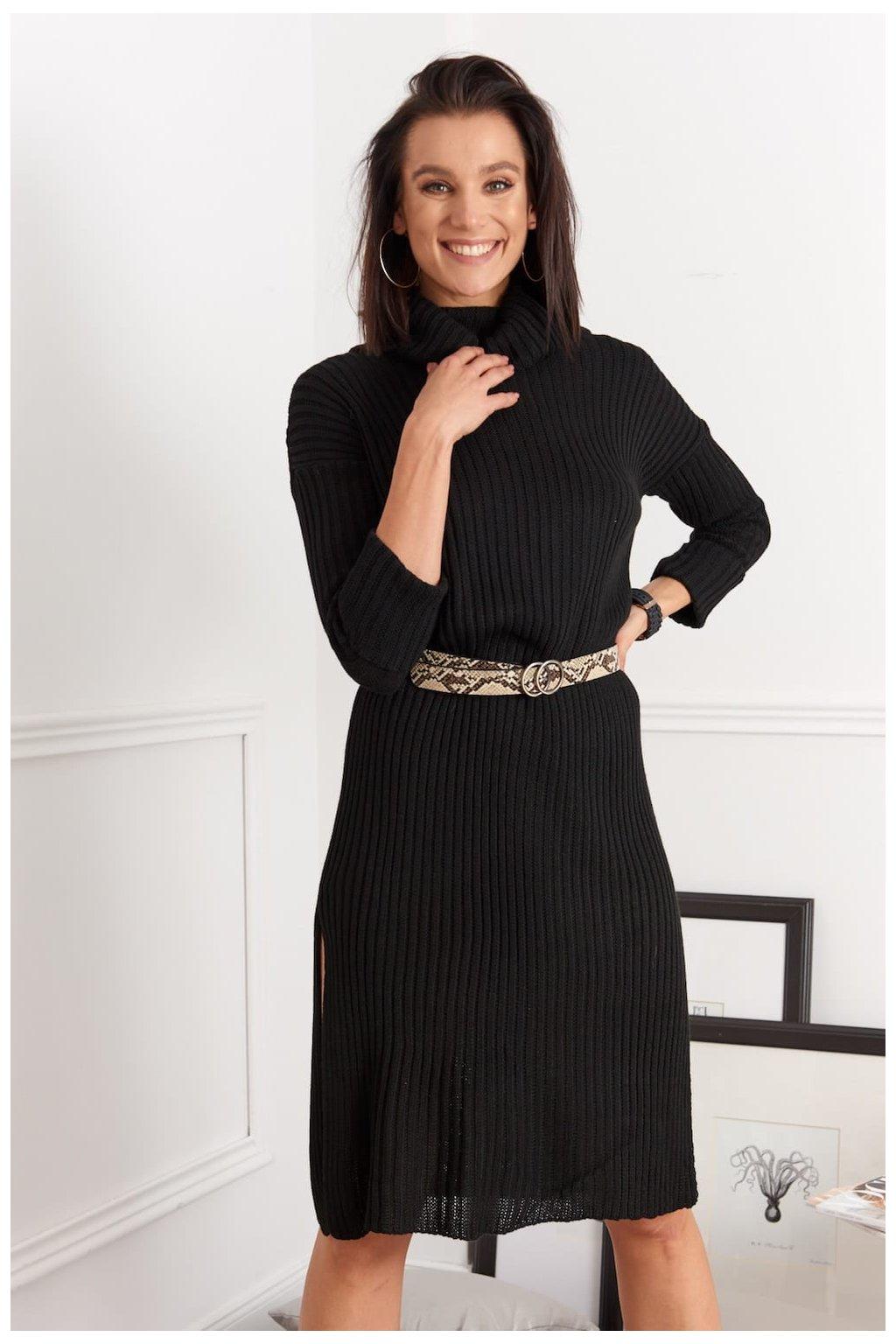 Černé svetrové šaty Fasardi s rozparky