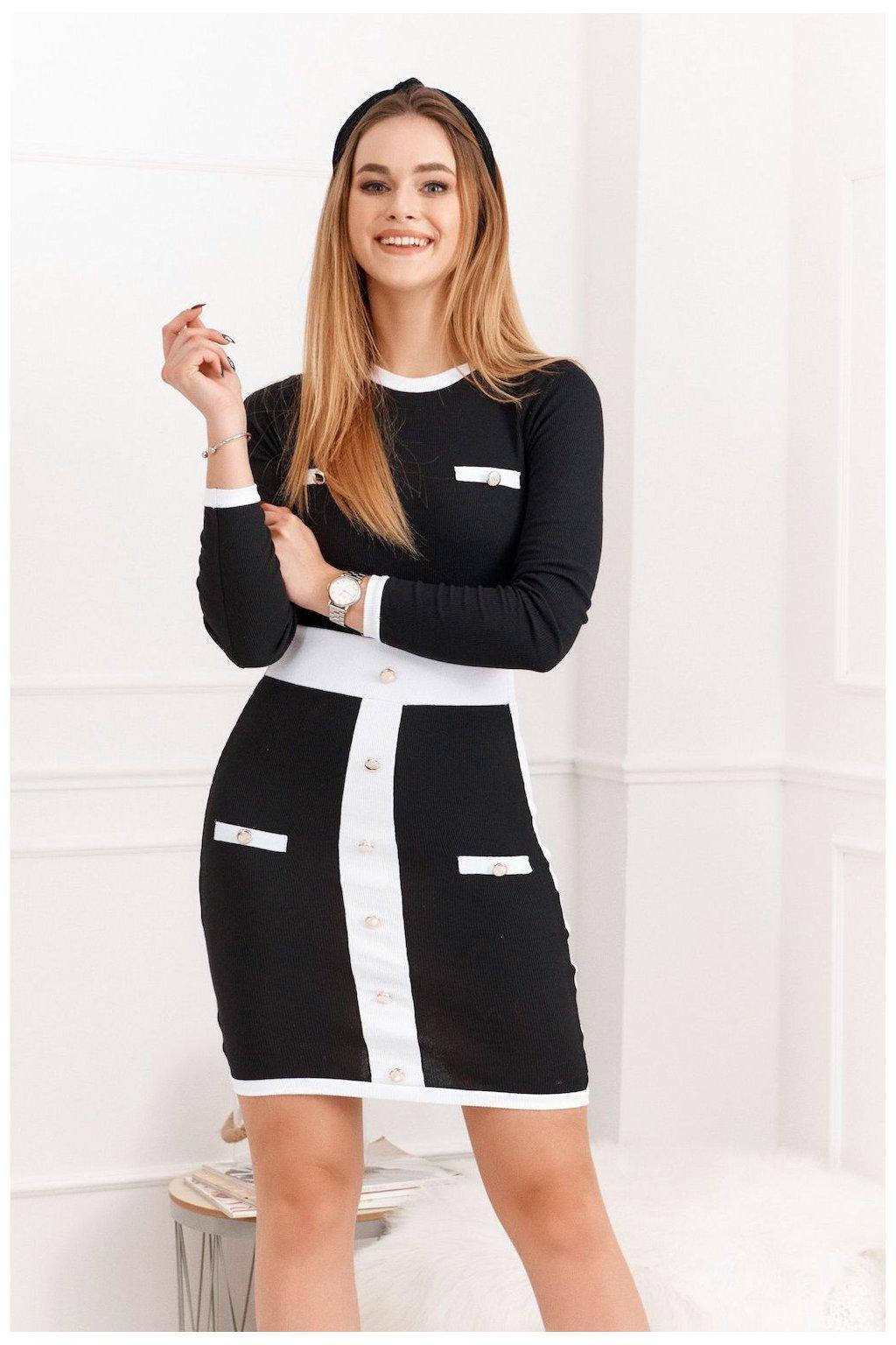 Šaty Fasardi s knoflíky černé