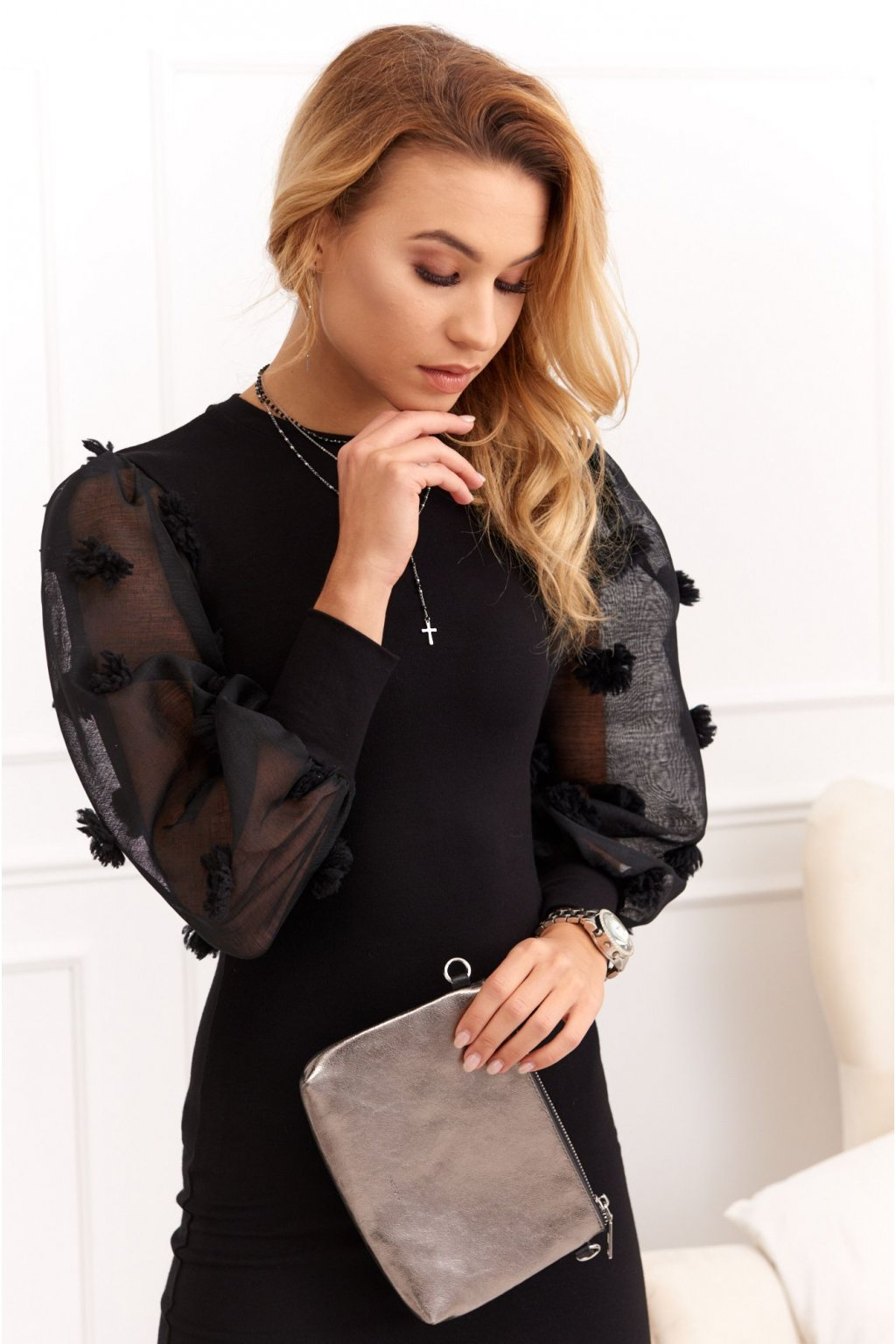 Dámské šaty Fasardi se zdobenými rukávy černé