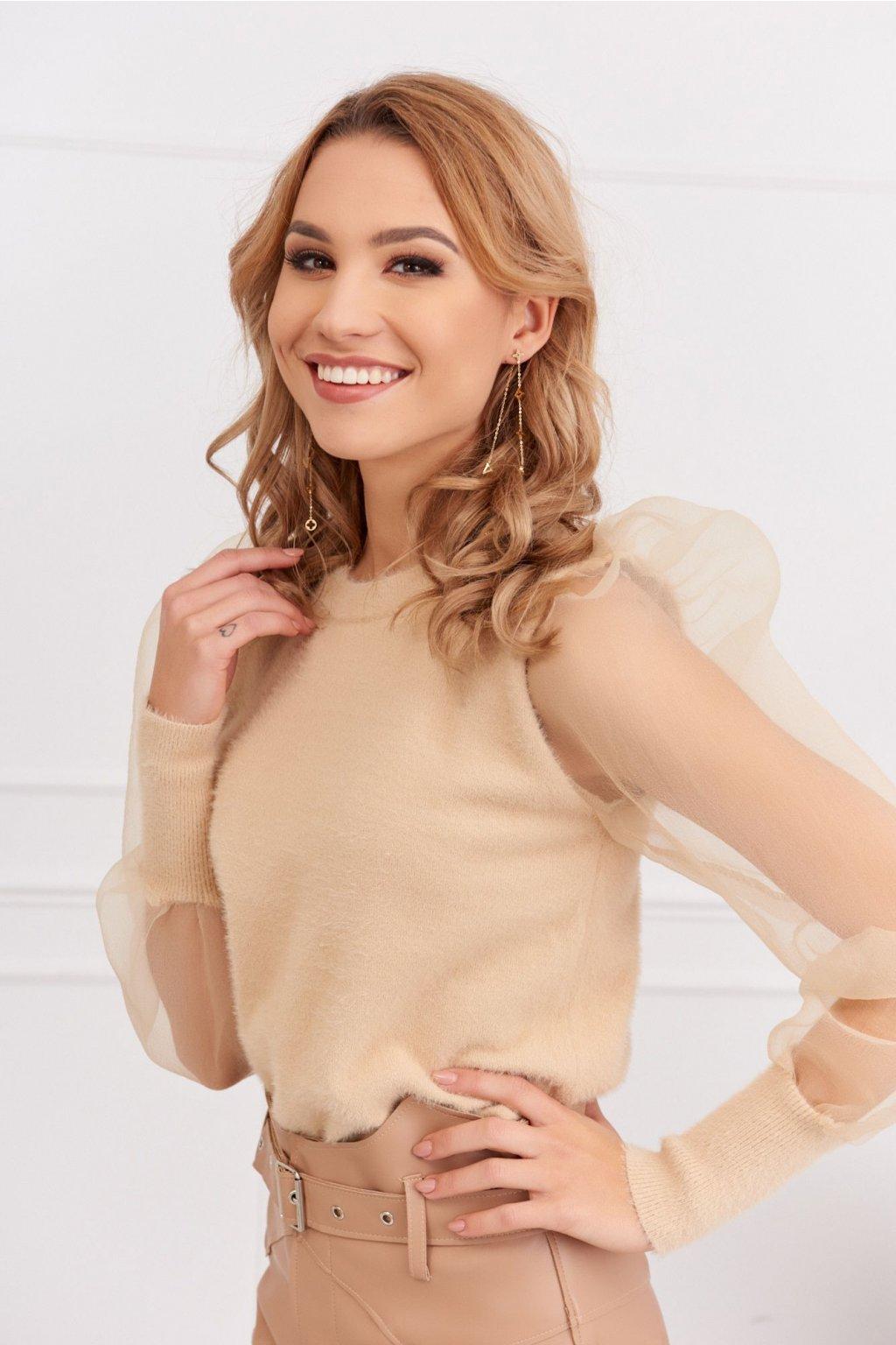 Krátký dámský svetr s průhlednými rukávy Fasardi béžový