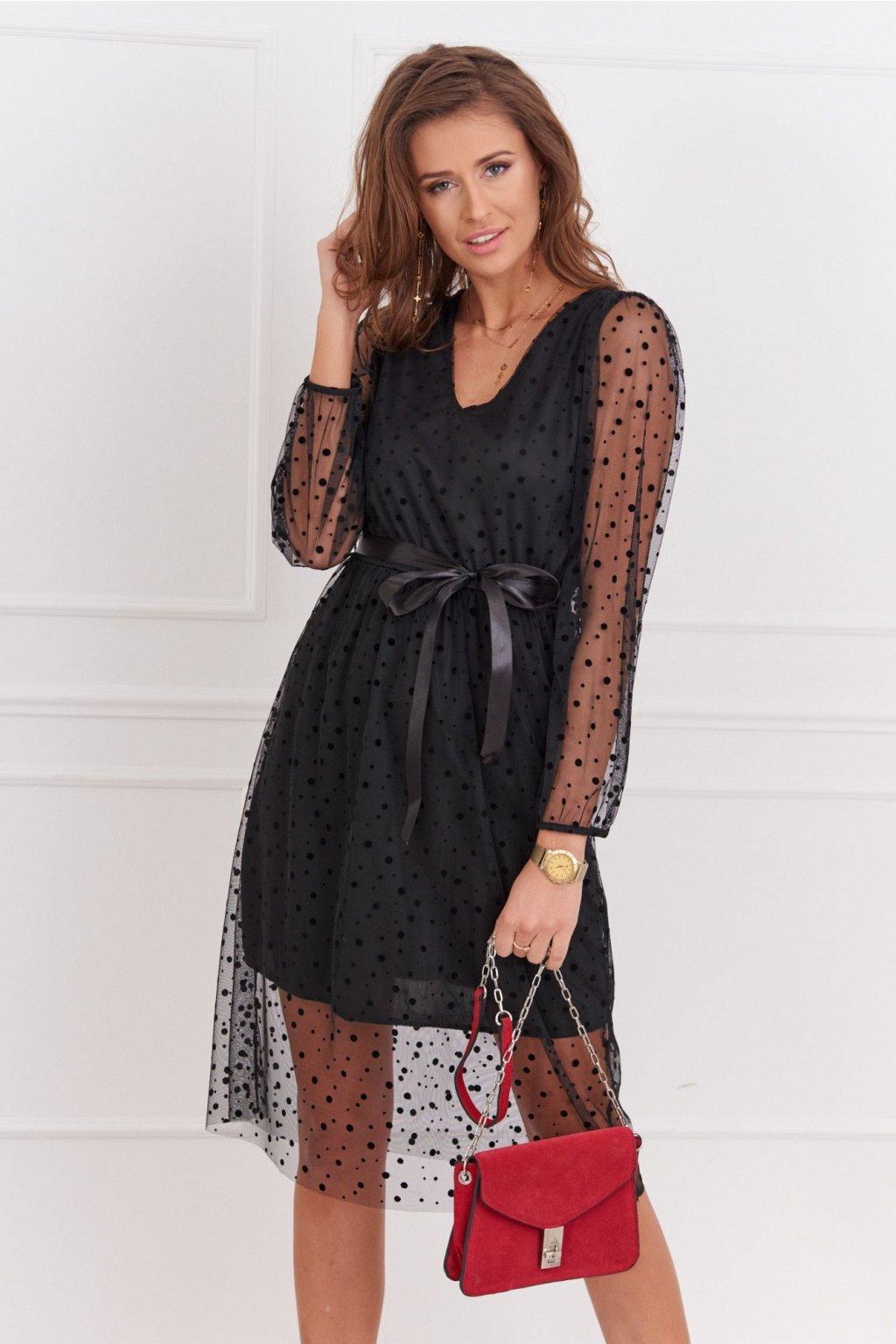 Elegantní šaty Fasardi s puntíky černé
