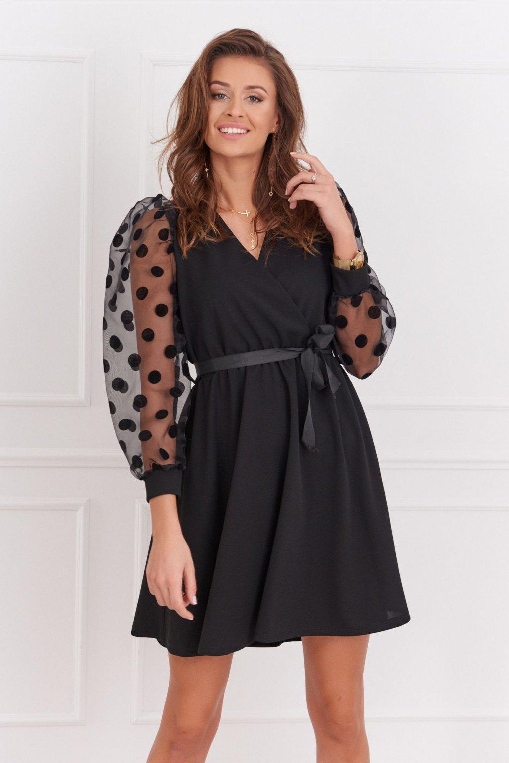 Elegantní Fasardi šaty s puntíky černé