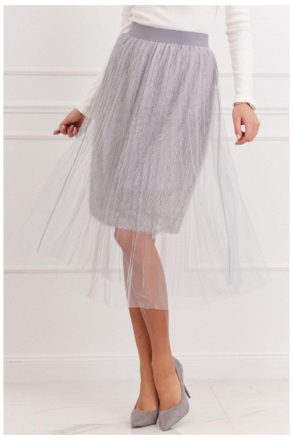Světle šedá tylová sukně Fasardi