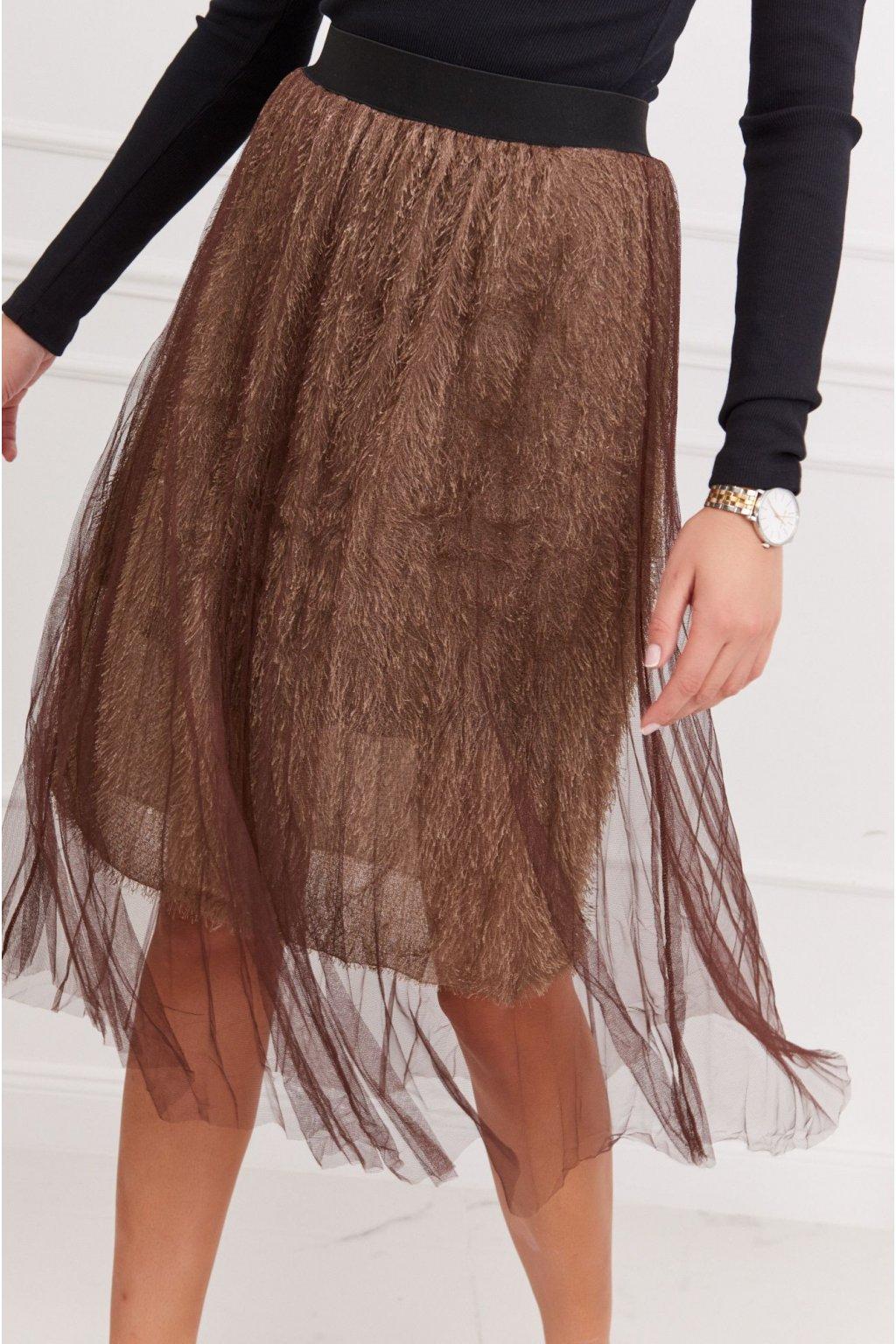 Hnědá tylová sukně Fasardi