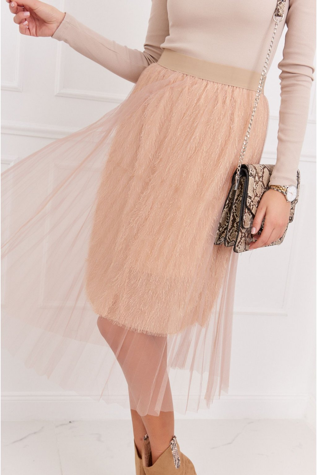 Béžová tylová sukně Fasardi