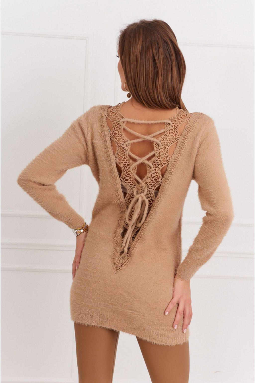 Dlouhý svetr s krajkovým výstřihem na zádech Fasardi