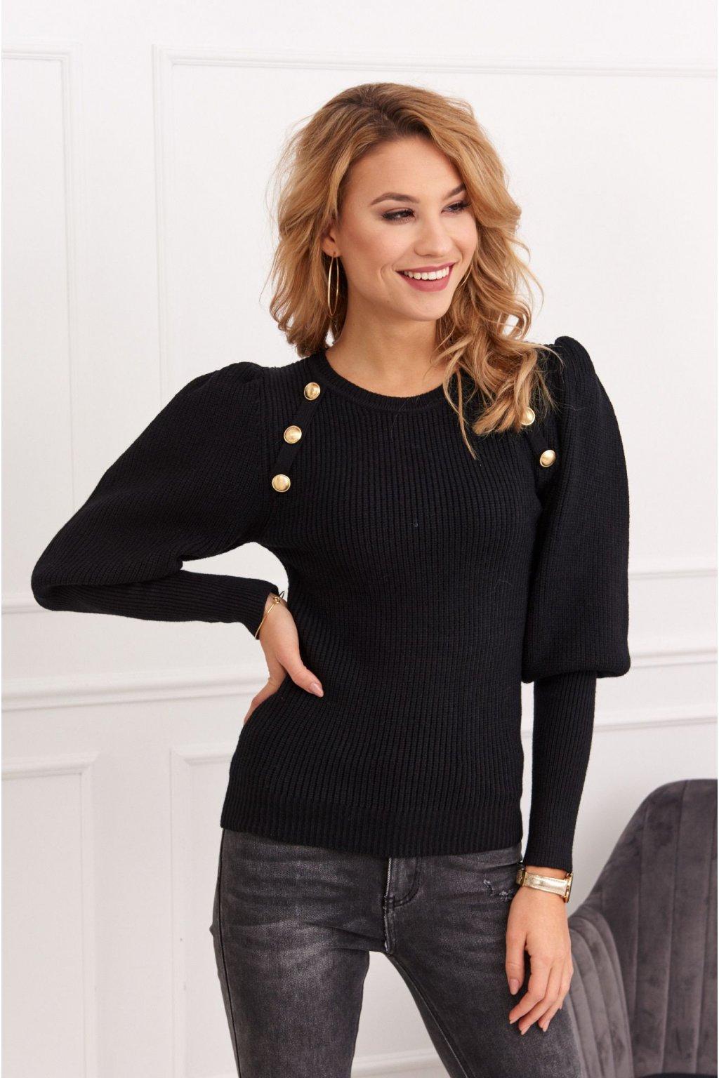 Dámský svetr s ozdobnými knoflíky Fasardi černý
