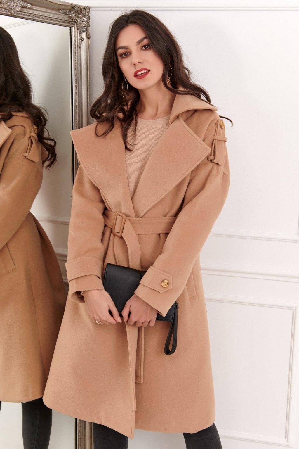 Dlouhý dámský kabát s páskem Fasardi hnědý