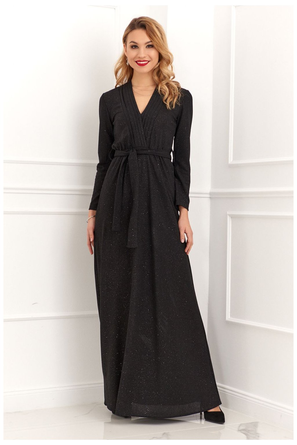 Večerní šaty Fasardi svázané v pase černé