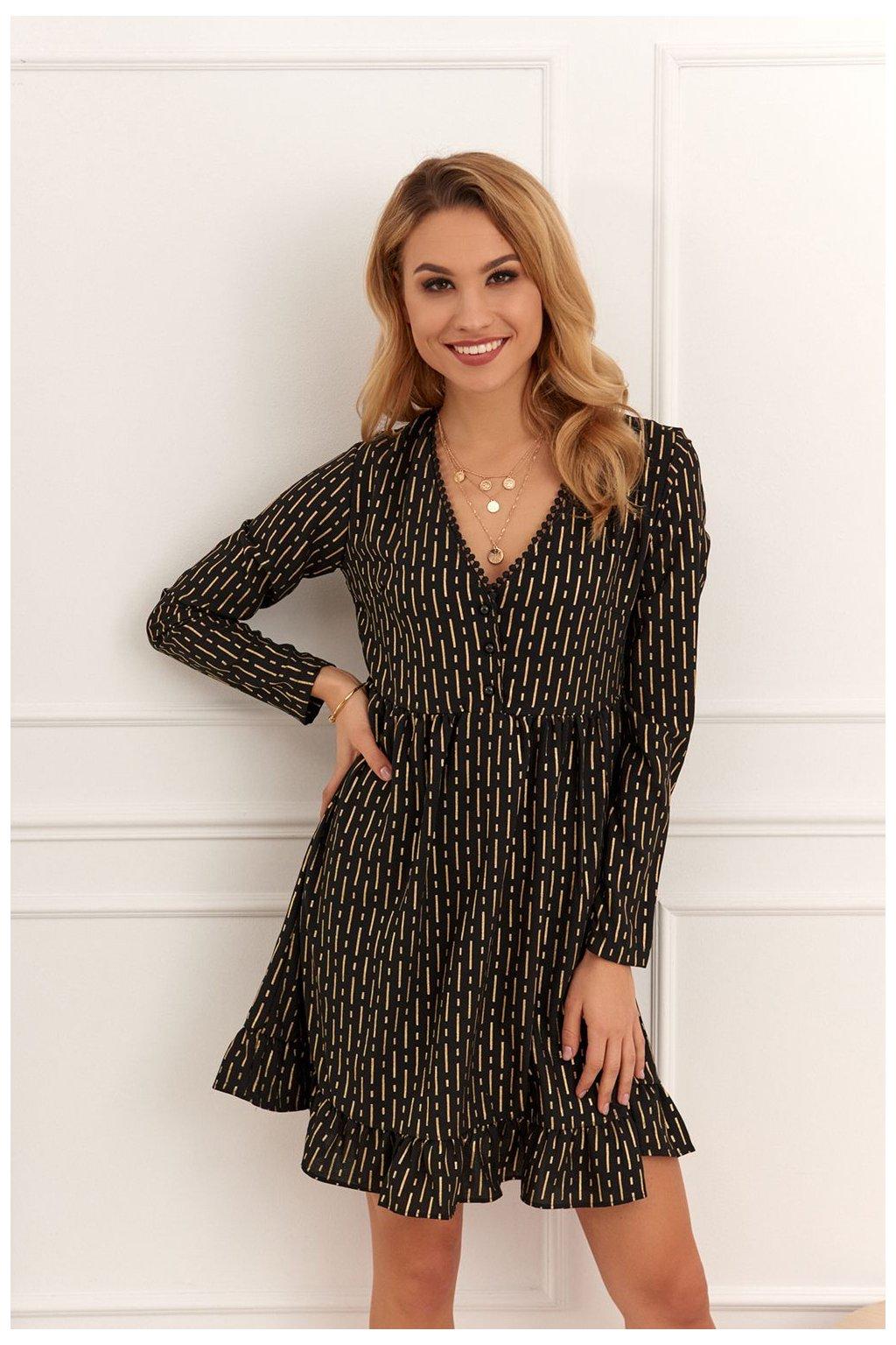 Volné šaty s dlouhými rukávy Fasardi černo-zlaté