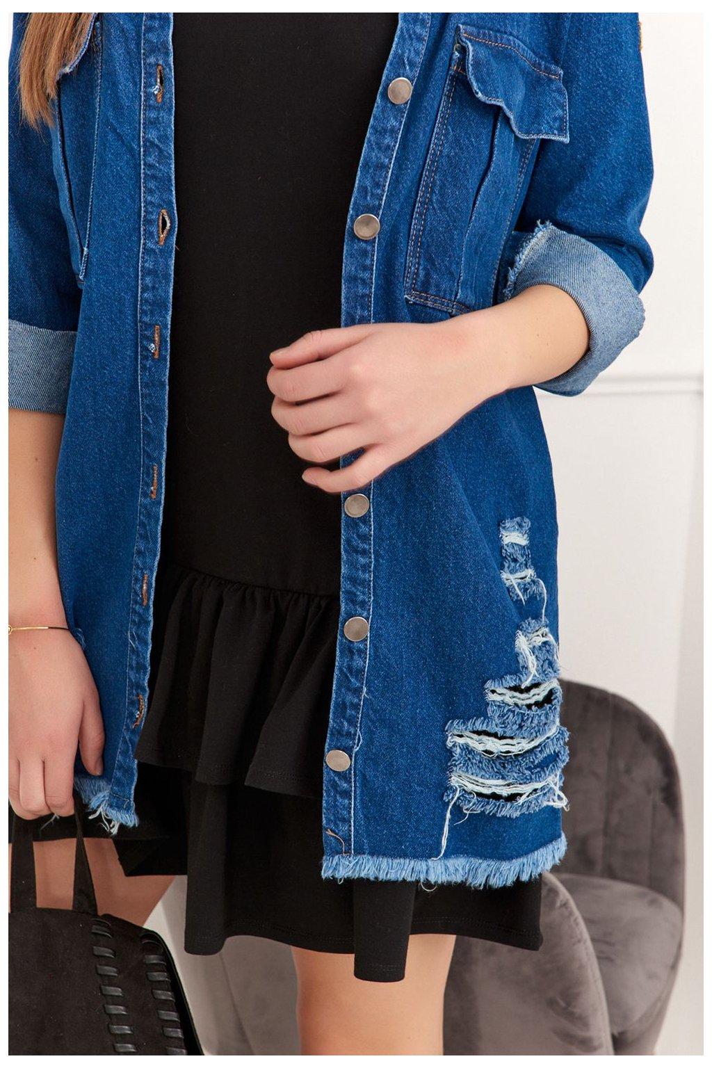 Džínová modrá bunda s módním trháním Fasardi tmavě modrá