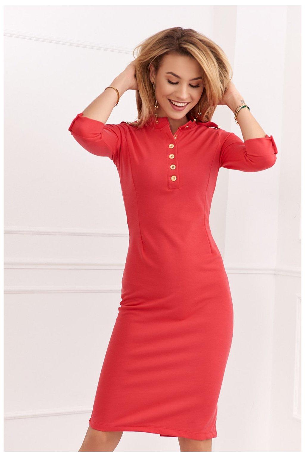 Korálové šaty Fasardi s knoflíčky