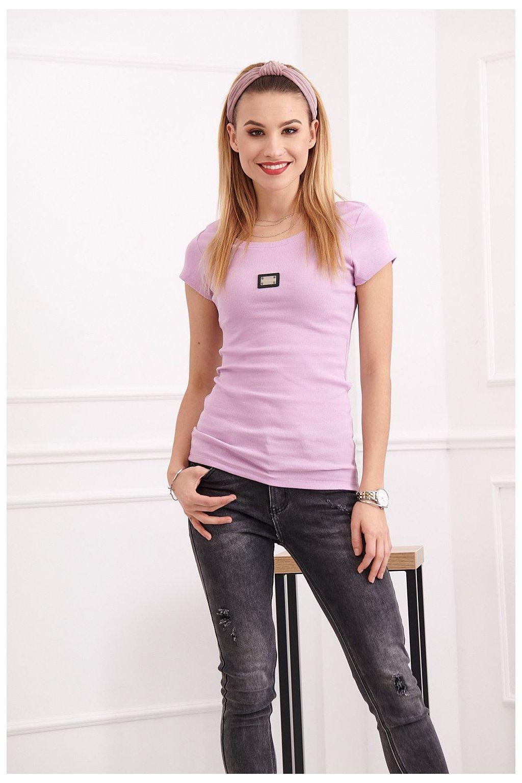 Levandulové tričko Fasardi s krátkými rukávy a logem
