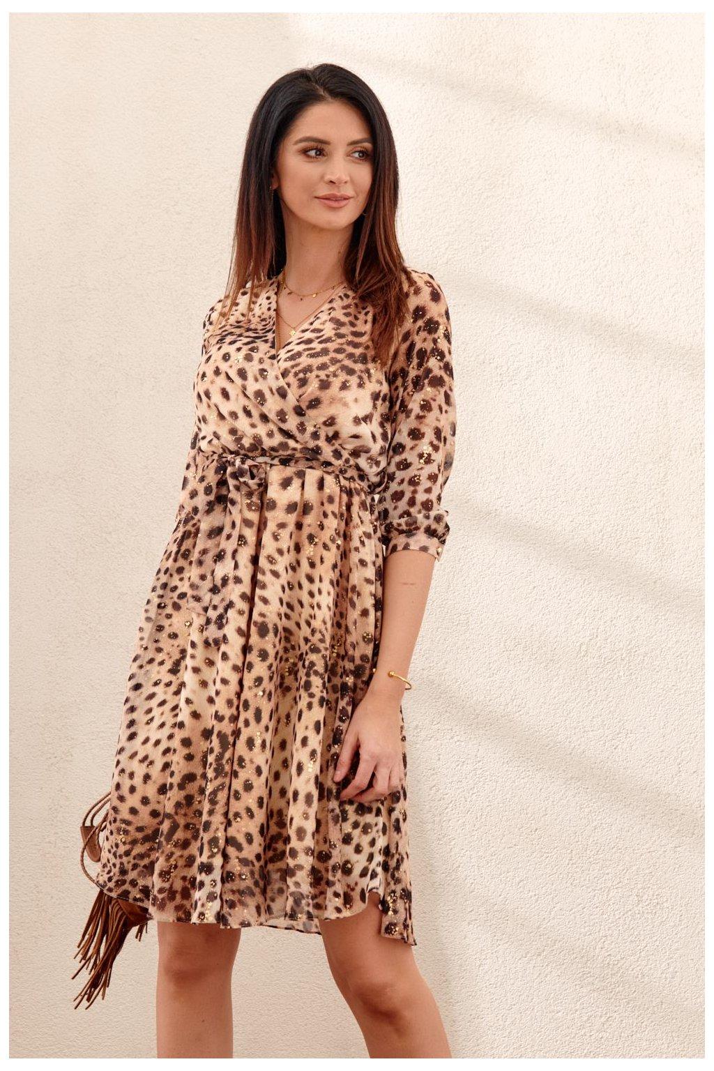 Elegantní šaty v leopardí PR96010