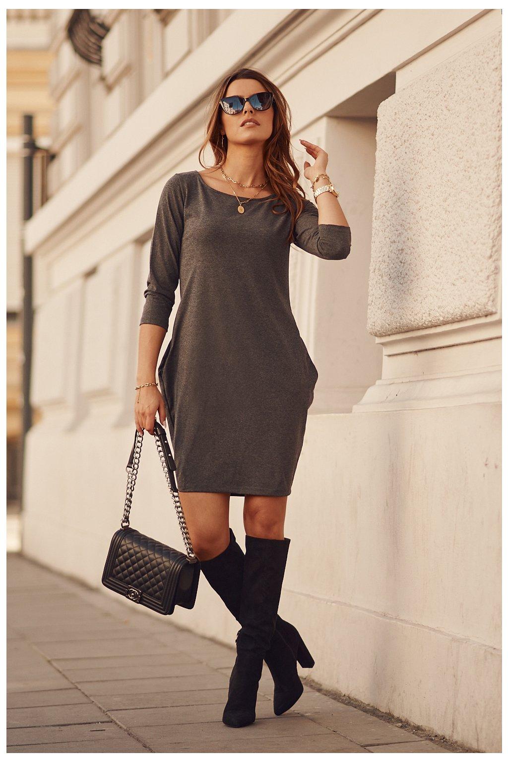 Tmavě šedé šaty Fasardi s dlouhým rukávem