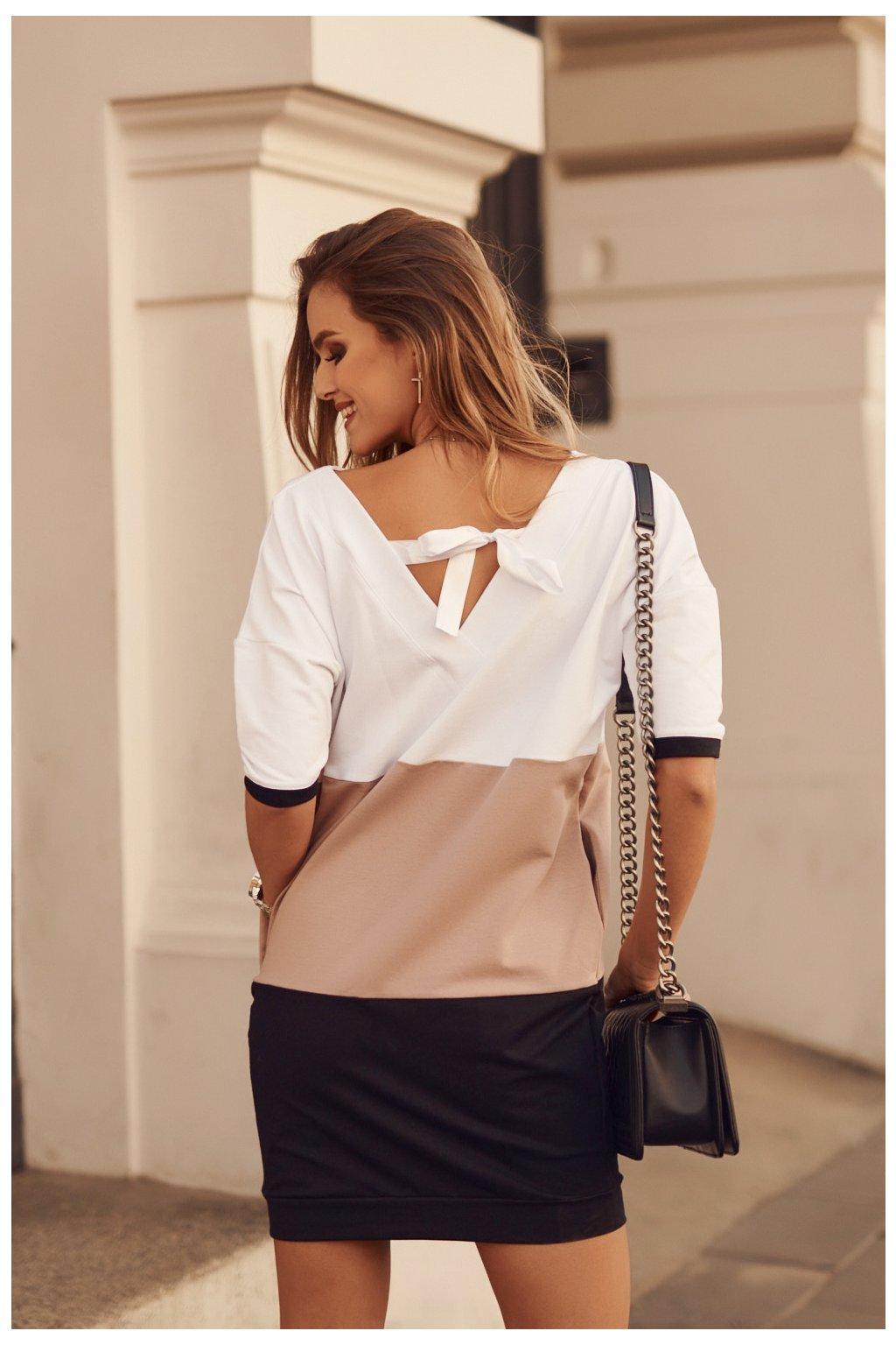 Volné šaty černo-karamelovo-bílé Fasardi