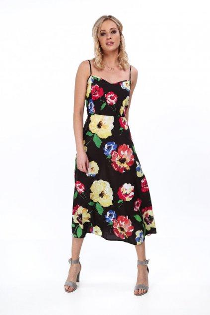 Černé letní květované šaty Fasardi