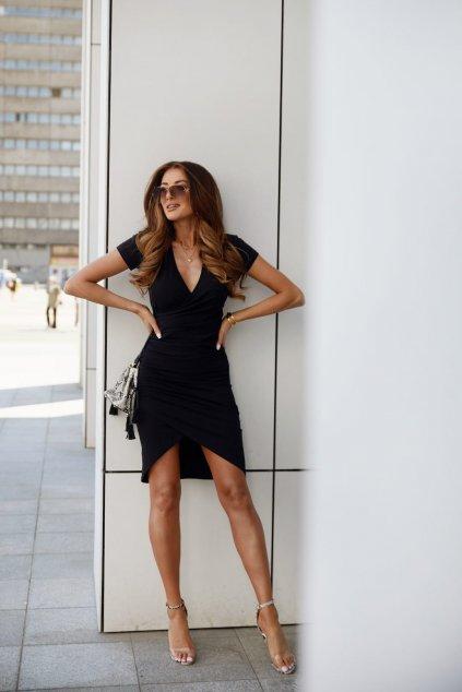 Černé letní šaty Fasardi s krátkým rukávem