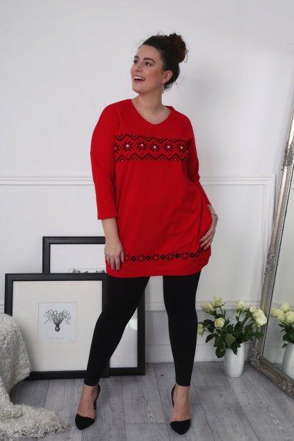 Červená tunika Plus Size zdobená Fasardi