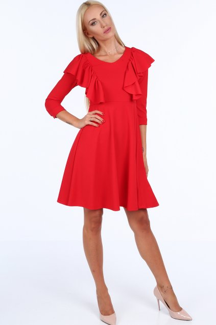Červené šaty Fasardi s volánky