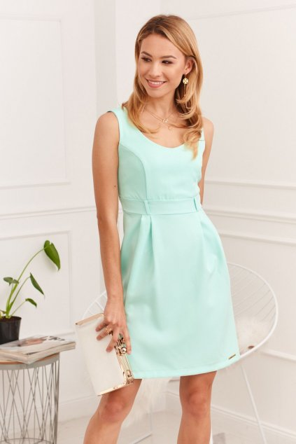 Elegantní šaty Fasardi s širokými ramínky - mentolové