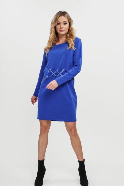 Modré šaty Fasardi s ozdobným vázáním