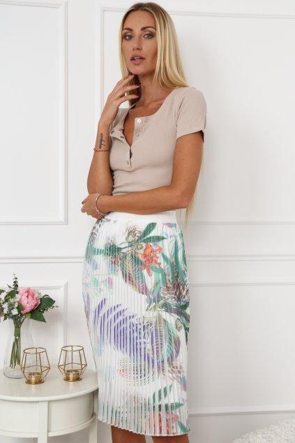 Plisovaná sukně Fasardi s motivem květů - krémová