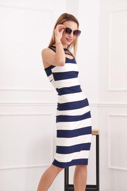 Pruhované šaty se síťovinou Fasardi tmavě modré